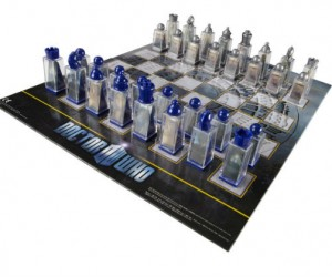 Each chess piece in the Doctor Who chess set comes with two lenticular pictures on the inside of the piece that morph when you move them.