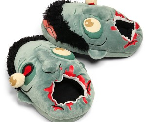 Show your love (or hate) for zombies by walking around in their gored heads for your personal slippers