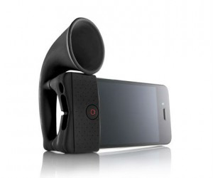 iPhone speaker amplifier – This handy little iPhone speaker amplifier horn not only works great it also doubles as an iPhone stand.