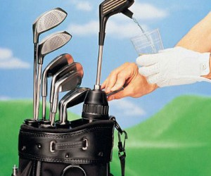 Grab a drink while on the green with the golf club drink dispenser