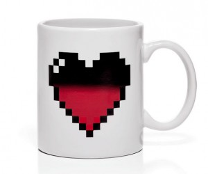 Pixel Heart color changing mug – The mug changes color from black when cold to red when hot.