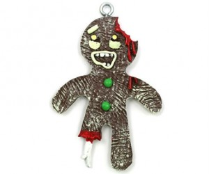 Delight and possibly scare your friends with this Zombie Gingerbread Christmas Gornament