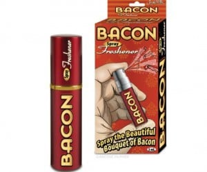 Bacon Air Freshener Spray Your room stinks but you don't want your friends to make fun of you for it smelling like frilly flowers either, don't worry, everybody loves the