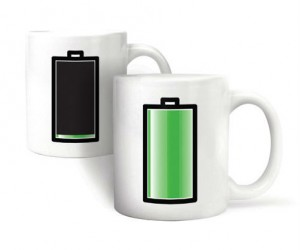 Charging Battery Mug – This cup will remind you when it's time to recharge with more caffeine because the battery drains as your coffee does.
