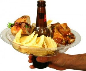 Drink Plate Holder – You can use your beer bottle, beer can, or your beer in a cup to hold up your plate. I guess you could use other drinks