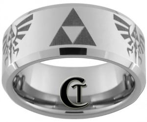 Zelda Ring – Get your rupees ready because you'll love this stylish triforce tungsten band. Let's see, you will need two red, one blue, and four green rupees to make