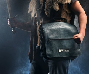 "This messenger bag is made of ""dragonhide"" and can hold your laptop, pens, pencils, scrolls, potions and anything else you may need. It will definitely give you +5 charisma."