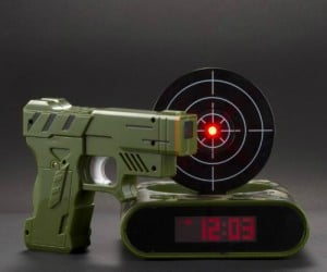 Gun Alarm Clock – Everybody has fantasies about shooting their alarm clock for waking them up, but you actually can with this set. It's good practice for improving your aim