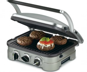 5-in-1 countertop unit works as a contact grill, panini press, full grill, full griddle, and half grill/half griddle. That's a lot of grilling.