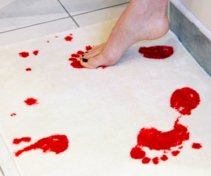 Bloody Bath Mat – You see all kinds of neat themes in peoples bathrooms; Rubber duckies, under the sea, jungle… But why not make a really cool zombie themed bathroom?