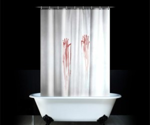 If you have the Bloody Bath Mat, then you really need the bloody shower curtain to pull it all together. You might get some interesting reactions from people who use