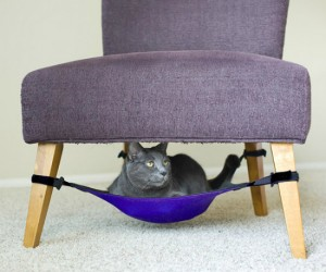 This cat hammock can be placed under nearly any chair with four legs, save some space in your home by multitasking your furniture.