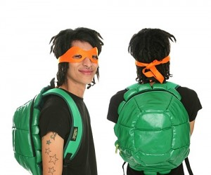 The only other thing you need besides this backpack with masks to look like a Teenage Mutant Ninja Turtle is green skin.