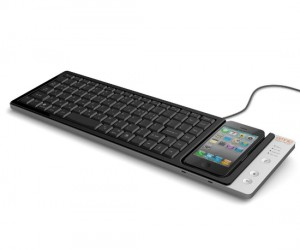 If you have a lot of typing to do on your iPhone your thumbs must be cramping up. Here is a full sized QWERTY keyboard that attaches to your iPhone