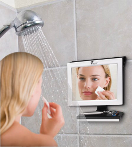 Fogless bathroom mirror