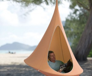 Hanging Cocoon Hammock – Finally get some peace and quiet in your own personal fortress of solitude.