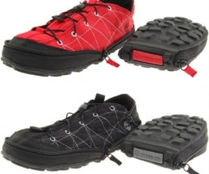 These shoes zip up so they are convenient and compact when hiking and/or camping.