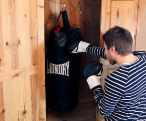 Take out your aggression on your laundry with the laundry punching bag!