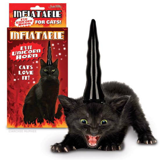 Evil Inflatable Unicorn Horn For Cats Shut Up And Take