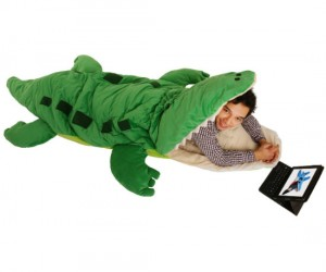 Alligator Sleeping Bag – Who knew the inside of an alligator's mouth would be so comfortable.
