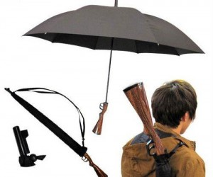 Rifle Umbrella – People won't be sure it's an umbrella until you actually use it as one. Just watch everyone relax when you open it.