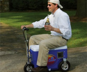 Instead of carrying that heavy cooler around, why not make it carry you!