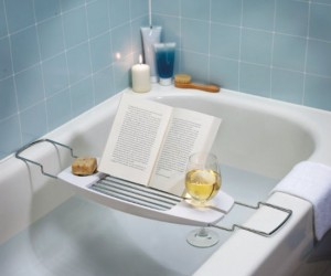 Finally an elegant solution for reading, eating, and enjoying a glass of wine in the tub.