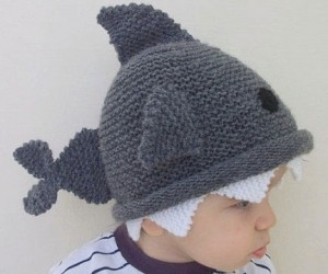 Knit Shark Hat – Because your toddler isn't afraid of anything not even a shark on his head.
