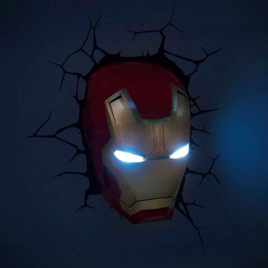 3d iron man wall light on