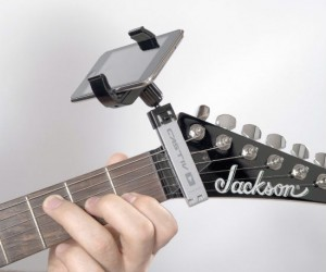 The best place to hold your iPhone while using those tuning and guitar tab apps!