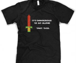 It's dangerous to go alone, this shirt with an image of a 8 bit sword on it will protect you!