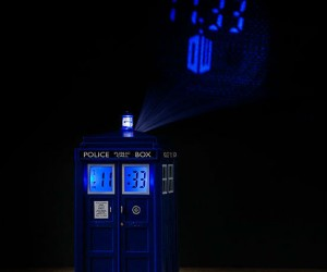 TARDIS Projection Alarm Clock – Instead of traveling through time in it, you can tell time by looking at it!