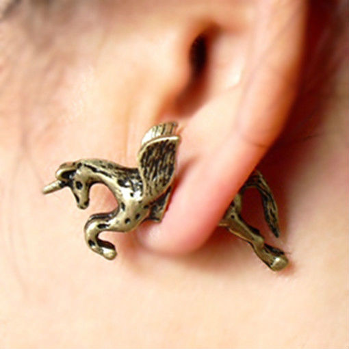 3D unicorn earrings