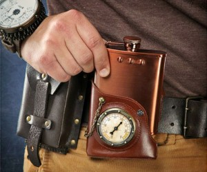 Capt. Jules Steampunk Flask w/ Leather Holster – Just don't drink and fly the airship!