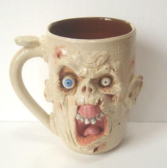 ugly zombie face mug