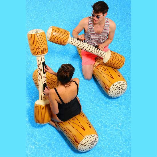 Inflatable log jousting set