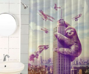 Slothzilla Shower Curtain – Slothzilla is watching you shower and he likes what he sees.
