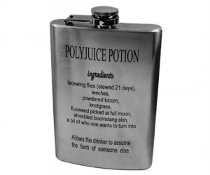 "Polyjuice Potion Flask – This may not change your appearance but when filled with the right ""potion"" everyone around you is going to look a lot better."