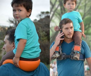 A hands free way to carry your kid on your shoulders, what more could a Dad ask for?
