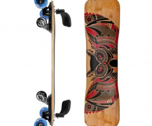 With bindings and two free moving center wheels, the freebord really lets you skate like a snowboard!