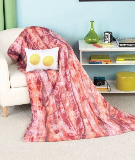 bacon and eggs throw pillow and blanket set