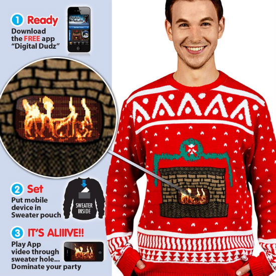 animated fireplace ugly christmas sweater