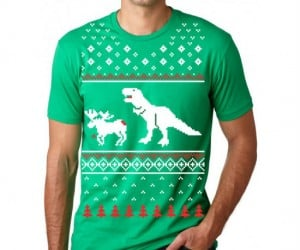 T-Rex Attack Ugly Christmas Tee – Have a holly maully Christmas!