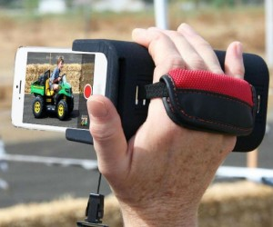 Your iPhone will feel just like a real camcorder with the PoiseCam grip that lets you hold it like one!