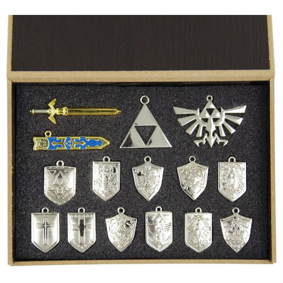 Silver legend of zelda pendant set