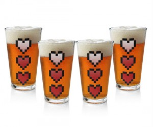 Zelda Heart Pint Glasses – The hearts fill up when cold beverages are added!