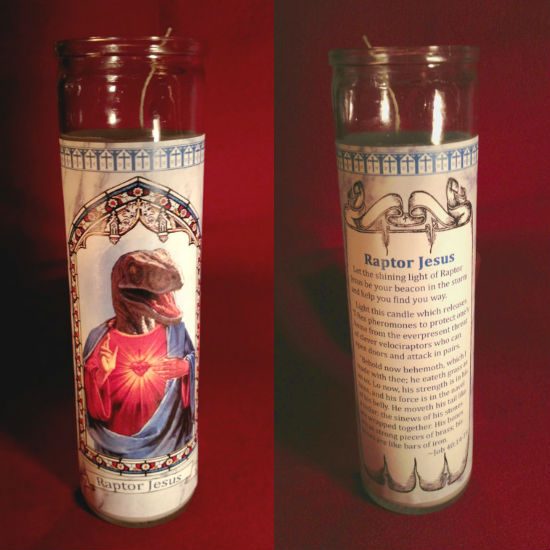 raptor jesus candle