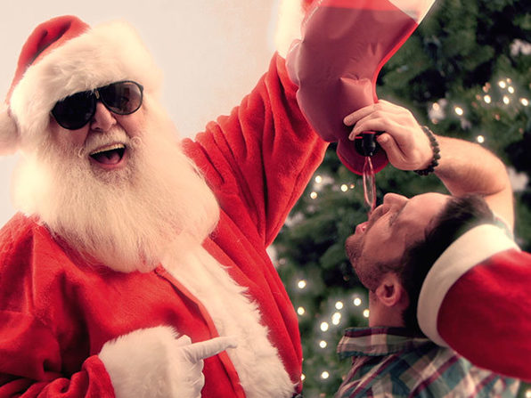 santa stocking flask