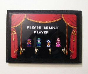 Super Mario 2 Player Select Key Holders -This plaque comes with a hook for every hero, is made from reclaimed wood, and measures 5″ x 7″