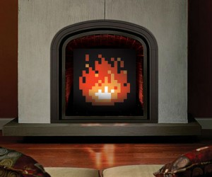Warm your hearts with custom artwork for your non-working fireplace.